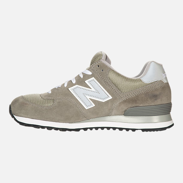 Left view of Men's New Balance 574 Suede Casual Running Shoes in Grey