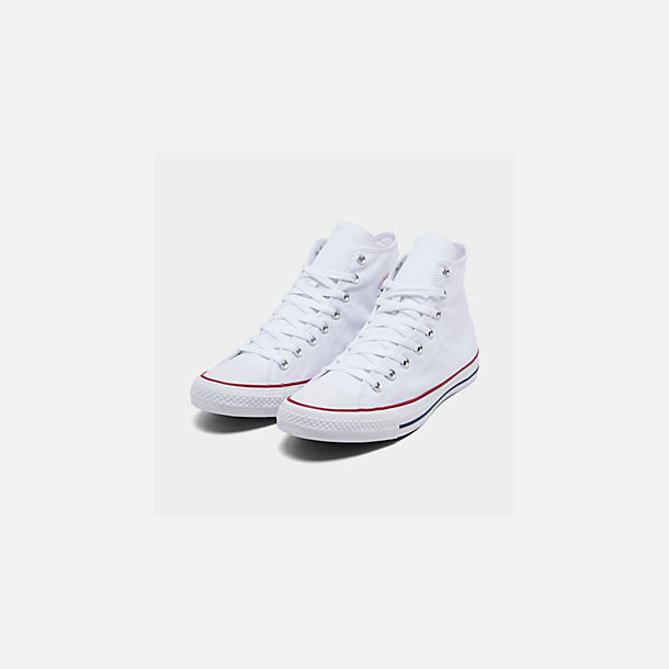 Three Quarter view of Unisex Converse Chuck Taylor Hi Top Casual Shoes in Optical White