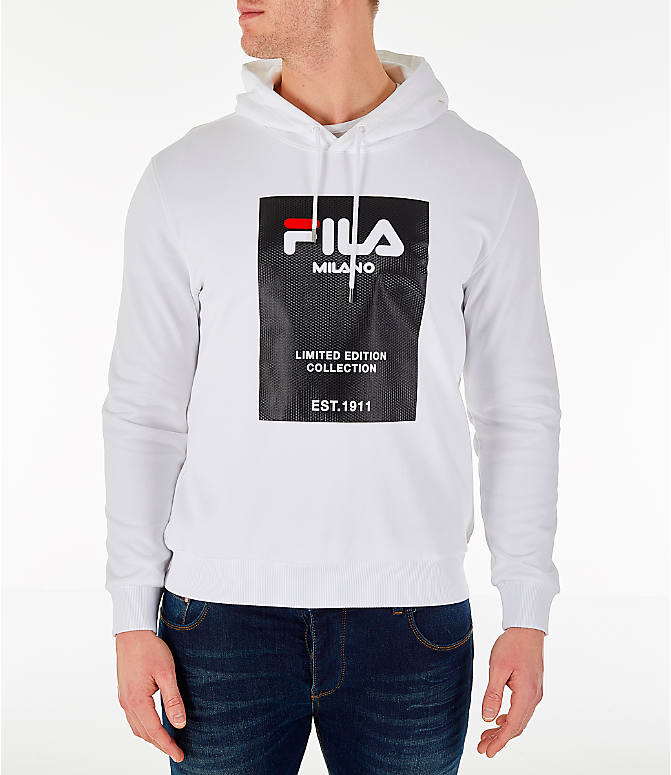 Front view of Men's Fila Milano FW Hoodie in White