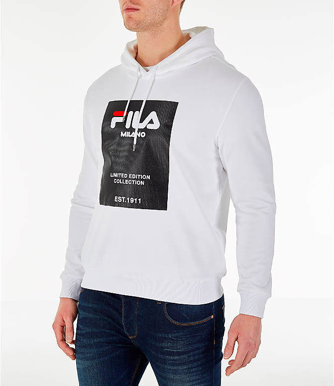 Front Three Quarter view of Men's Fila Milano FW Hoodie in White