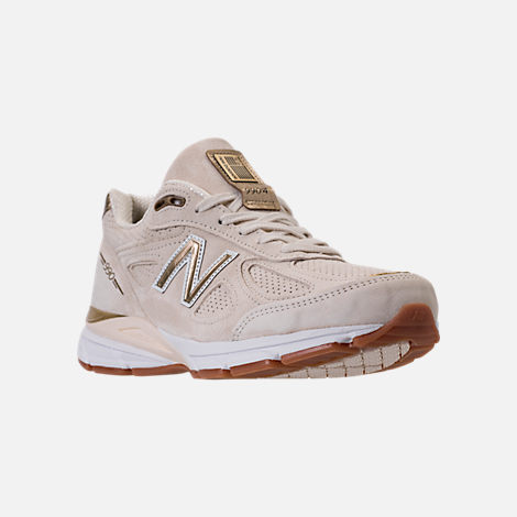 Three Quarter view of Men's New Balance 990 v4 Running Shoes in Angora/Angora