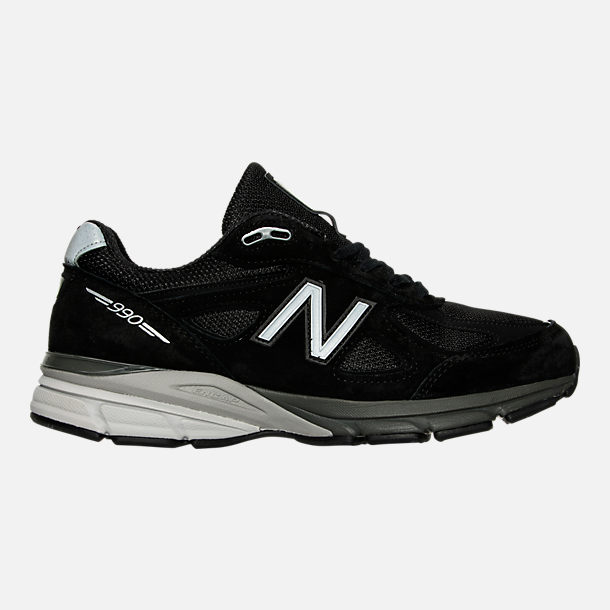 Right view of Men's New Balance 990 V4 Running Shoes in Black/Silver