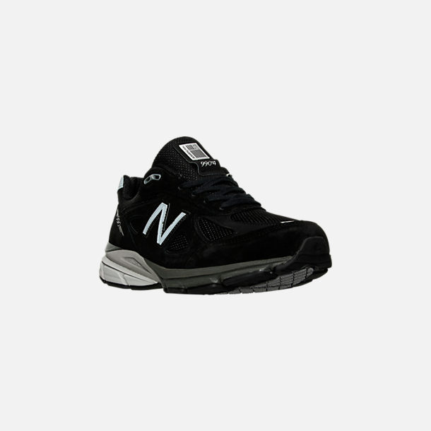Three Quarter view of Men's New Balance 990 V4 Running Shoes in Black/Silver