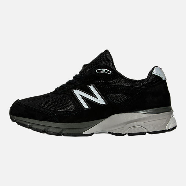 Left view of Men's New Balance 990 V4 Running Shoes in Black/Silver