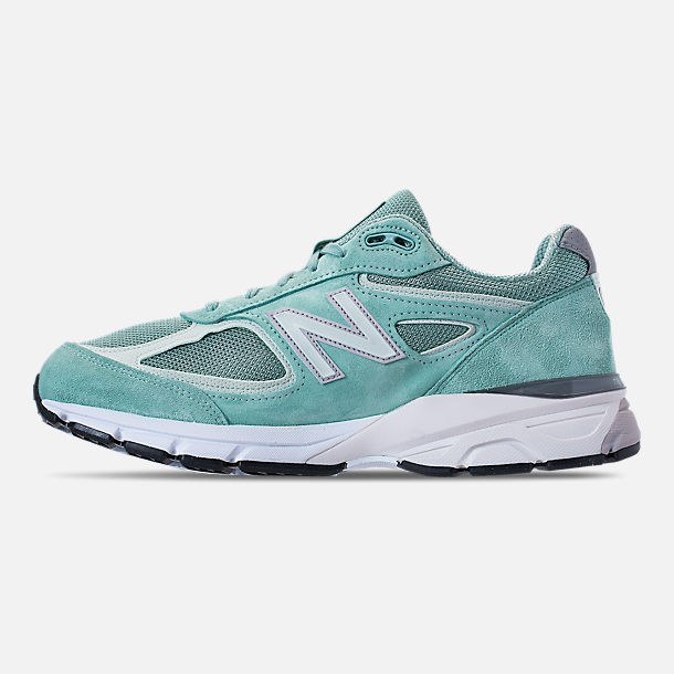 Left view of Men's New Balance 990 V4 Running Shoes in Mineral Sage/Seafoam