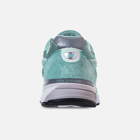 Back view of Men's New Balance 990 V4 Running Shoes in Mineral Sage/Seafoam