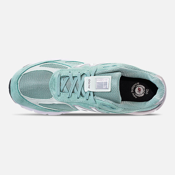 Top view of Men's New Balance 990 V4 Running Shoes in Mineral Sage/Seafoam