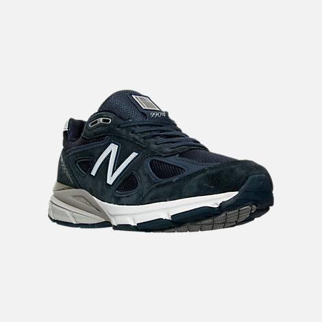 Three Quarter view of Men's New Balance 990 V4 Running Shoes in Navy