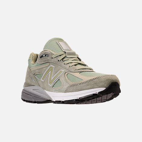 Three Quarter view of Men's New Balance 990 v4 Running Shoes in Silver Mint