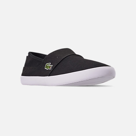 Three Quarter view of Men's Lacoste Marice Slip-On Casual Shoes in Black/White