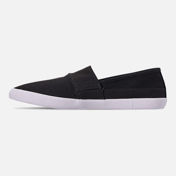 Left view of Men's Lacoste Marice Slip-On Casual Shoes in Black/White