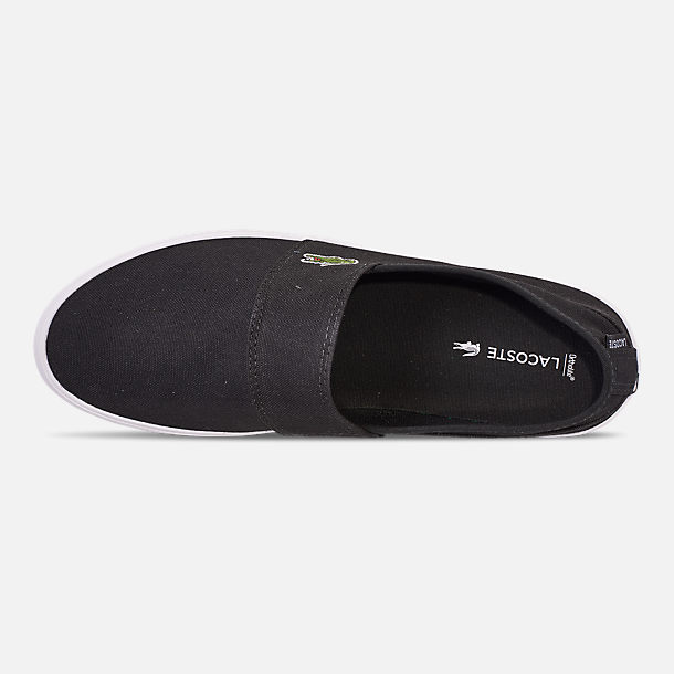 Top view of Men's Lacoste Marice Slip-On Casual Shoes in Black/White