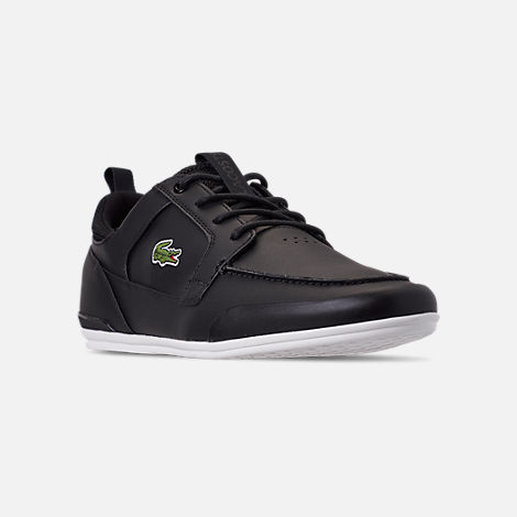 Three Quarter view of Men's Lacoste Marina Casual Shoes in Black/White