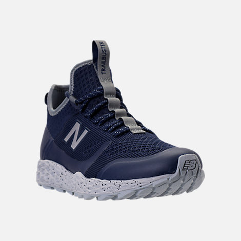 Three Quarter view of Men's New Balance Trailbuster Fresh Foam Casual Shoes in Navy/White/Grey