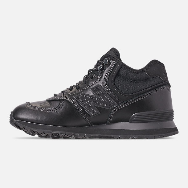 Left view of Men's New Balance 574 Mid Casual Shoes in Black/Black