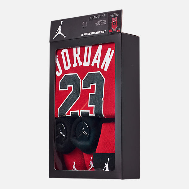 Back view of Infant Air Jordan Jumpman Jersey 3-Piece Boxed Set in Red/Black