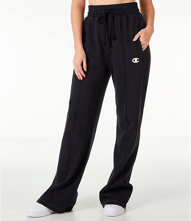 Front view of Women's Champion Reverse Weave Vintage Wide Leg Pants in Black