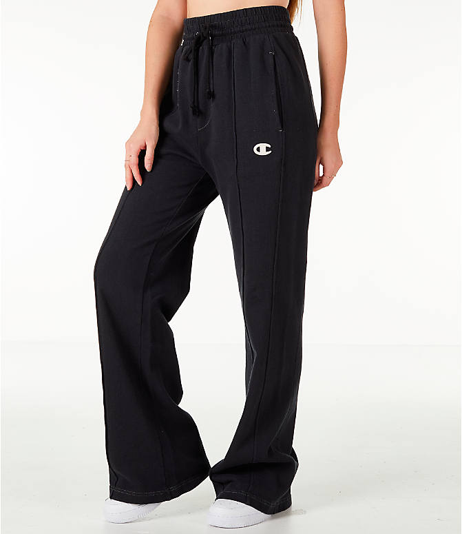 Front Three Quarter view of Women's Champion Reverse Weave Vintage Wide Leg Pants in Black