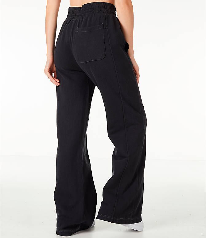 Back Right view of Women's Champion Reverse Weave Vintage Wide Leg Pants in Black
