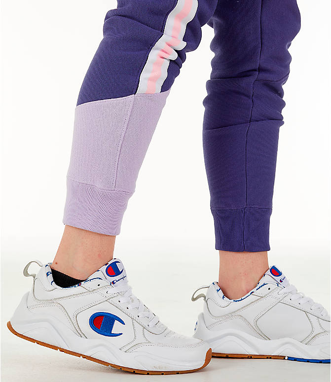 Detail 2 view of Women's Champion Reverse Weave Varsity Jogger Pants in Blue Violet