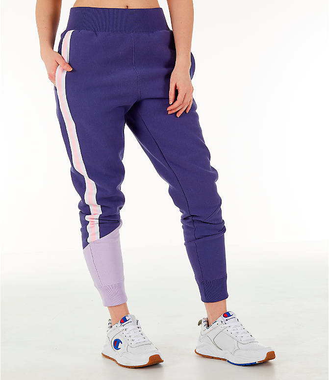Front view of Women's Champion Reverse Weave Varsity Jogger Pants in Blue Violet