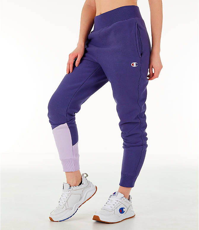 Front Three Quarter view of Women's Champion Reverse Weave Varsity Jogger Pants in Blue Violet