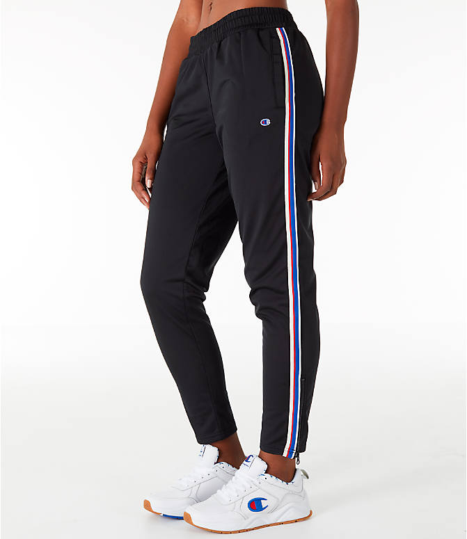 Front Three Quarter view of Women's Champion Track Pants in Black