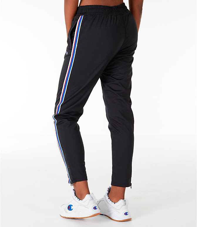 Back Left view of Women's Champion Track Pants in Black