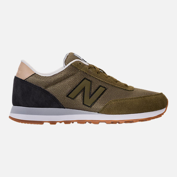 Right view of Men's New Balance 501 Heritage Casual Shoes in Olive/Black