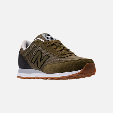 Three Quarter view of Men's New Balance 501 Heritage Casual Shoes in Olive/Black