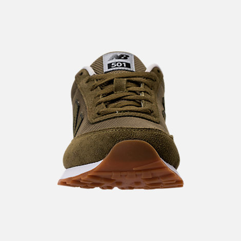 Front view of Men's New Balance 501 Heritage Casual Shoes in Olive/Black