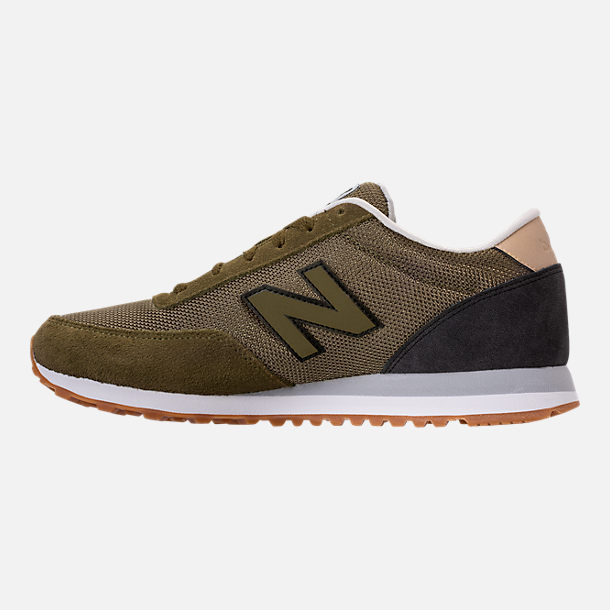 Left view of Men's New Balance 501 Casual Shoes in Olive/Black