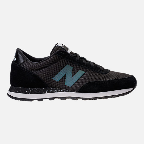 Right view of Men's New Balance 501 Suede Casual Shoes in Black/Dark Grey/Teal