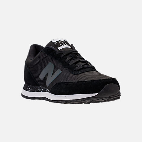 Three Quarter view of Men's New Balance 501 Suede Casual Shoes in Black/Dark Grey/Teal