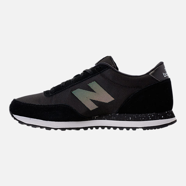 Left view of Men's New Balance 501 Suede Casual Shoes in Black/Dark Grey/Teal