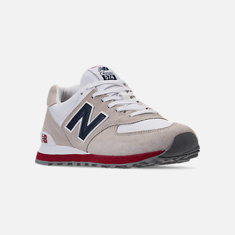 Three Quarter view of Men's New Balance 574 USA Casual Shoes in Nimbus Cloud/Navy