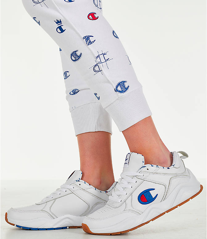 Detail 2 view of Women's Champion Reverse Weave Allover Print Jogger Pants in White/Red/Blue