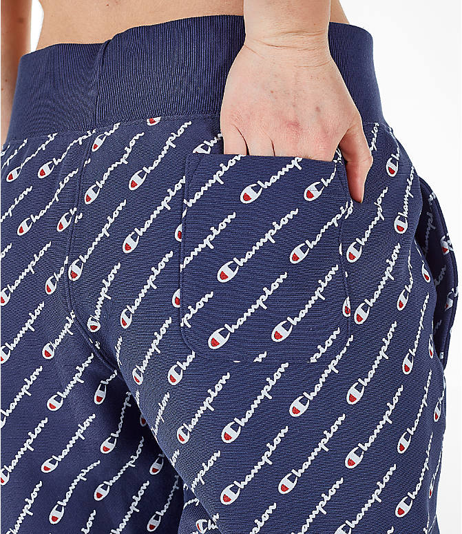 Detail 2 view of Women's Champion Reverse Weave Allover Print Jogger Pants in Imperial Indigo