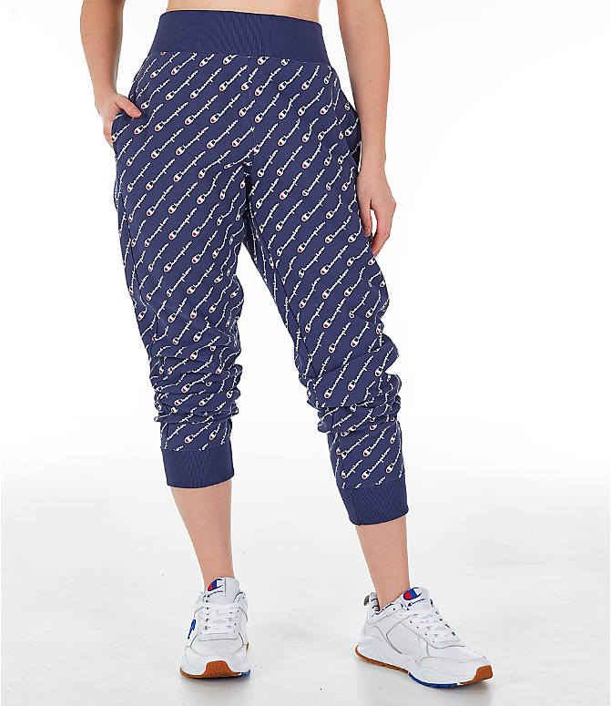 Front view of Women's Champion Reverse Weave Allover Print Jogger Pants in Imperial Indigo