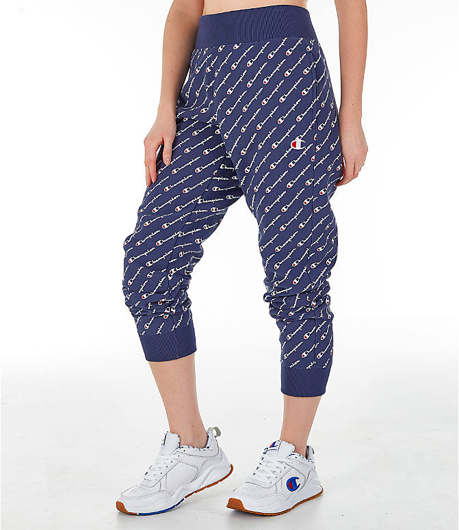 Front Three Quarter view of Women's Champion Reverse Weave Allover Print Jogger Pants in Imperial Indigo