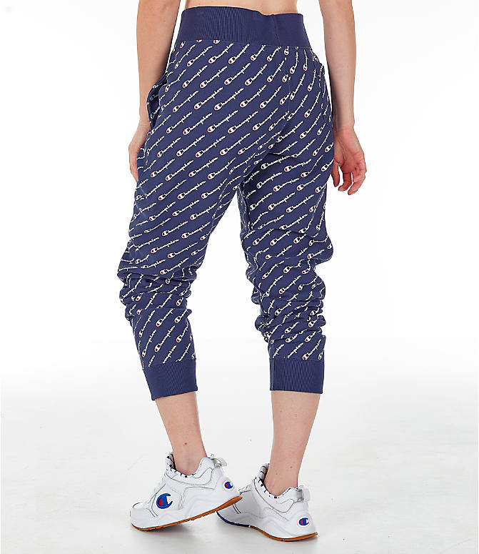 Back Left view of Women's Champion Reverse Weave Allover Print Jogger Pants in Imperial Indigo