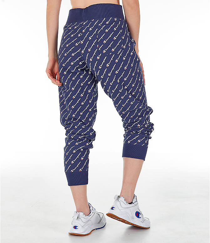 Back Right view of Women's Champion Reverse Weave Allover Print Jogger Pants in Imperial Indigo