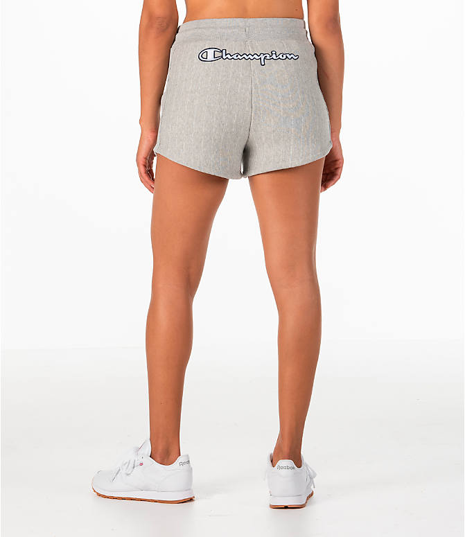 Front view of Women's Champion Heritage Shorts in Pinstripe Grey