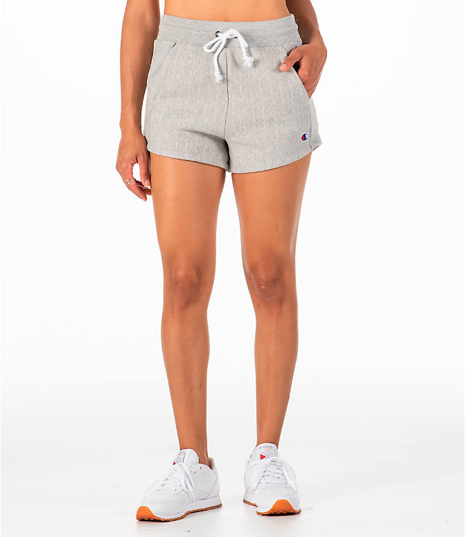 Front Three Quarter view of Women's Champion Heritage Shorts in Pinstripe Grey