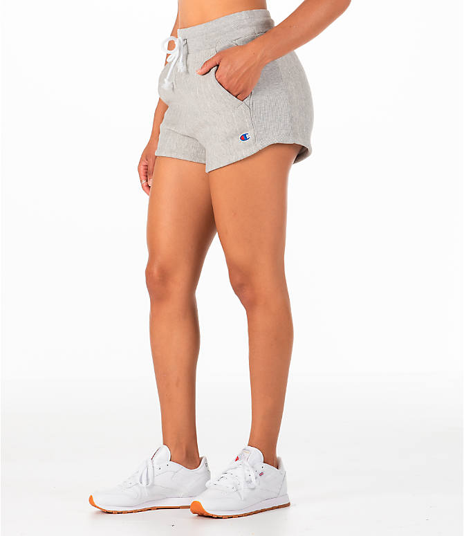 Back Left view of Women's Champion Heritage Shorts in Pinstripe Grey