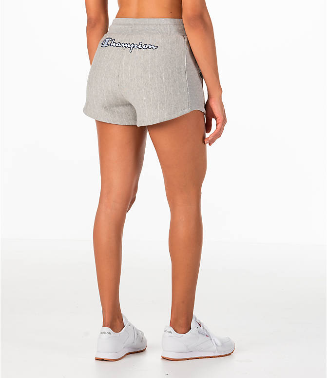 Back Right view of Women's Champion Heritage Shorts in Pinstripe Grey