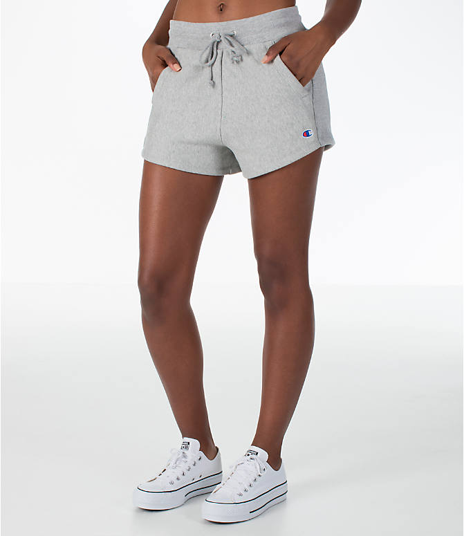 Front view of Women's Champion Heritage Shorts in Oxford Grey