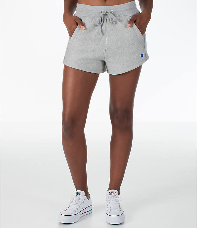 Front Three Quarter view of Women's Champion Heritage Shorts in Oxford Grey