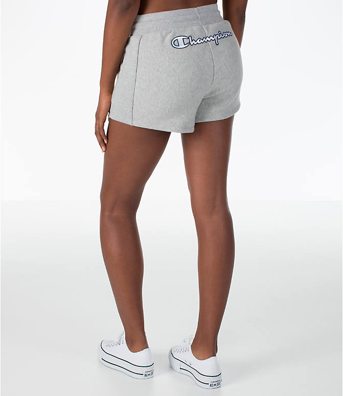Back Left view of Women's Champion Heritage Shorts in Oxford Grey