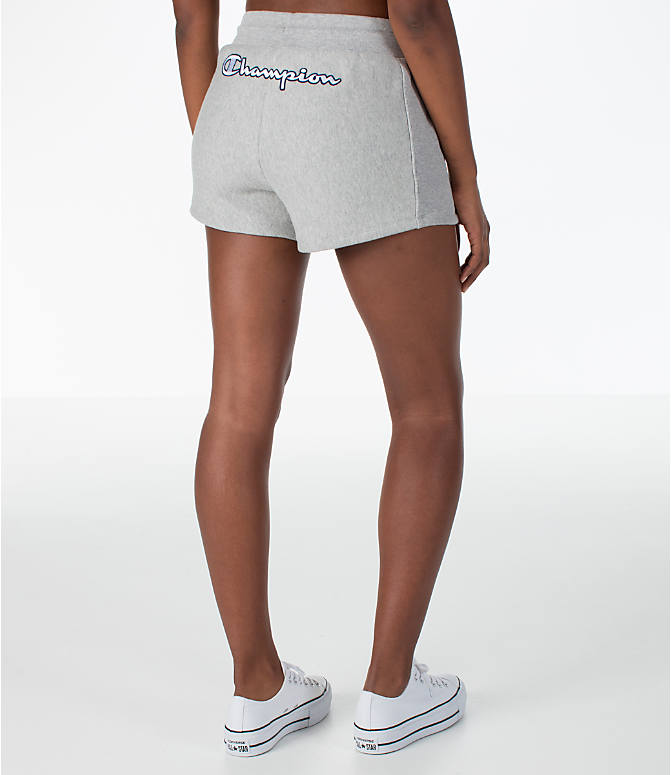 Back Right view of Women's Champion Heritage Shorts in Oxford Grey